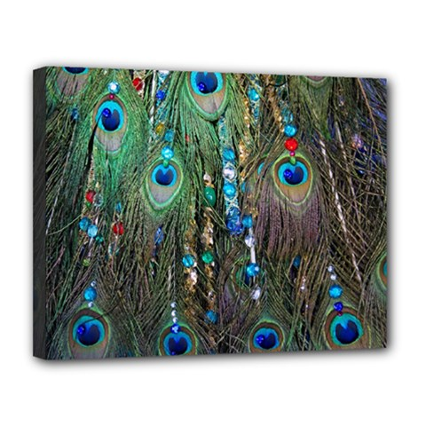 Peacock Jewelery Canvas 14  X 11  by Simbadda