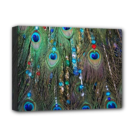 Peacock Jewelery Deluxe Canvas 16  X 12   by Simbadda