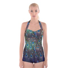 Peacock Jewelery Boyleg Halter Swimsuit  by Simbadda