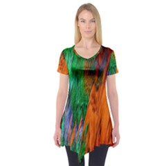 Watercolor Grunge Background Short Sleeve Tunic  by Simbadda