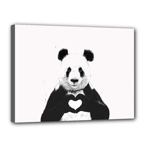 Panda Love Heart Canvas 16  X 12  by Onesevenart