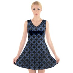 Circles3 Black Marble & Blue Stone V Neck Sleeveless Dress by trendistuff