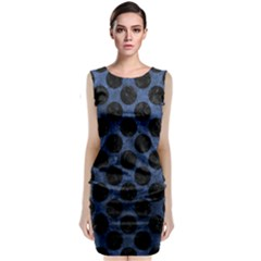 Circles2 Black Marble & Blue Stone (r) Classic Sleeveless Midi Dress by trendistuff