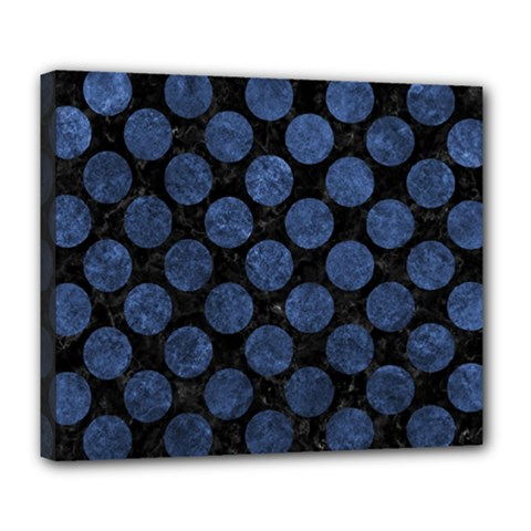 Circles2 Black Marble & Blue Stone Deluxe Canvas 24  X 20  (stretched) by trendistuff