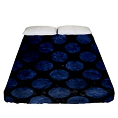 Circles2 Black Marble & Blue Stone Fitted Sheet (queen Size) by trendistuff