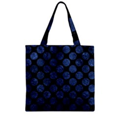 Circles2 Black Marble & Blue Stone Zipper Grocery Tote Bag by trendistuff