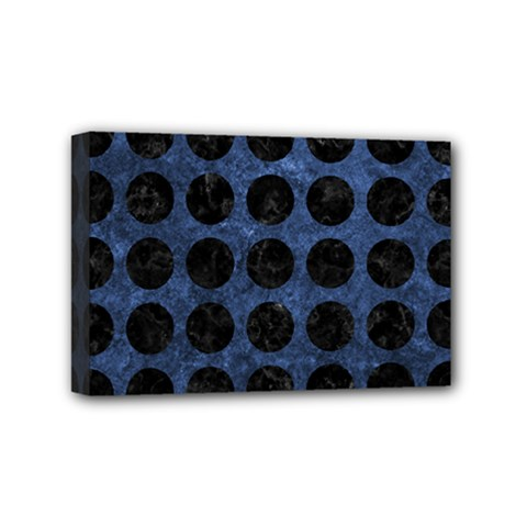 Circles1 Black Marble & Blue Stone (r) Mini Canvas 6  X 4  (stretched) by trendistuff