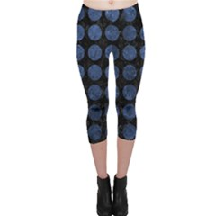 Circles1 Black Marble & Blue Stone Capri Leggings  by trendistuff