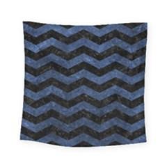 Chevron3 Black Marble & Blue Stone Square Tapestry (small) by trendistuff