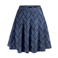 Brick2 Black Marble & Blue Stone (r) High Waist Skirt by trendistuff