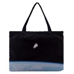 Amazing Stunning Astronaut Amazed Medium Zipper Tote Bag by Simbadda