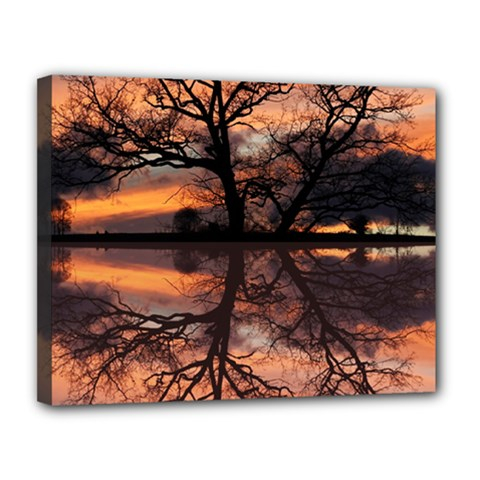 Aurora Sunset Sun Landscape Canvas 14  X 11  by Simbadda
