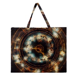 Science Fiction Energy Background Zipper Large Tote Bag by Simbadda