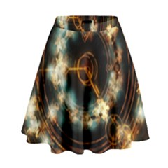 Science Fiction Energy Background High Waist Skirt by Simbadda