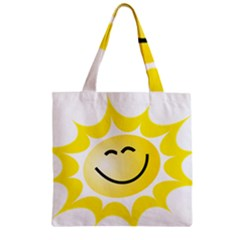 The Sun A Smile The Rays Yellow Zipper Grocery Tote Bag