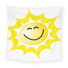 The Sun A Smile The Rays Yellow Square Tapestry (large) by Simbadda