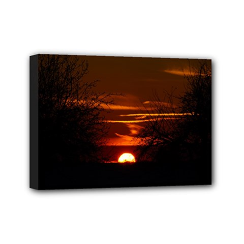 Sunset Sun Fireball Setting Sun Mini Canvas 7  X 5  by Simbadda