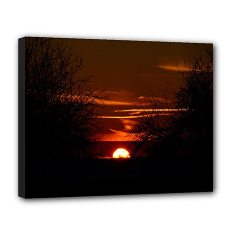 Sunset Sun Fireball Setting Sun Canvas 14  X 11  by Simbadda