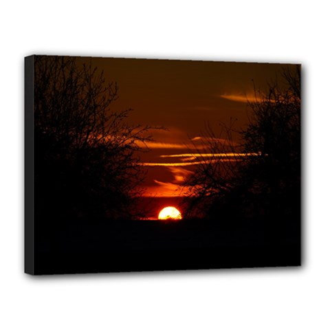 Sunset Sun Fireball Setting Sun Canvas 16  X 12  by Simbadda