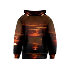 Sunset Sun Fireball Setting Sun Kids  Pullover Hoodie by Simbadda