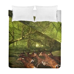 Red Deer Deer Roe Deer Antler Duvet Cover Double Side (full/ Double Size) by Simbadda