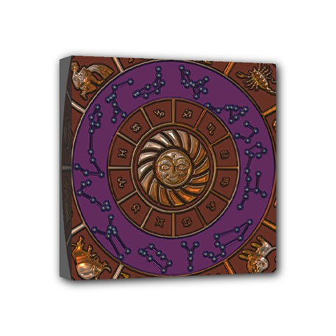 Zodiak Zodiac Sign Metallizer Art Mini Canvas 4  X 4  by Simbadda