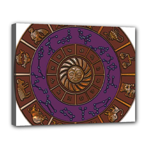 Zodiak Zodiac Sign Metallizer Art Canvas 14  X 11  by Simbadda