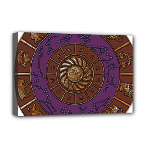 Zodiak Zodiac Sign Metallizer Art Deluxe Canvas 18  X 12   by Simbadda