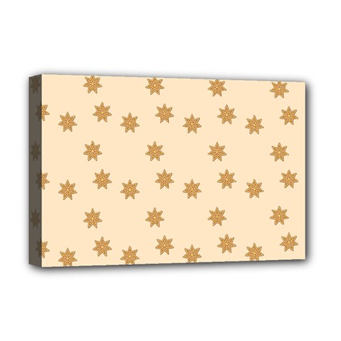Pattern Gingerbread Star Deluxe Canvas 18  X 12   by Simbadda