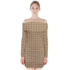 Pattern Background Brown Lines Long Sleeve Off Shoulder Dress by Simbadda
