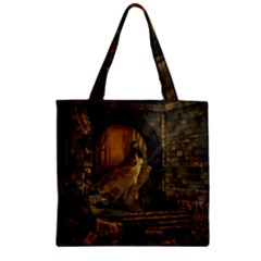 Woman Lost Model Alone Zipper Grocery Tote Bag by Simbadda