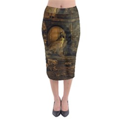 Woman Lost Model Alone Midi Pencil Skirt by Simbadda