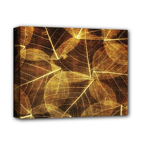 Leaves Autumn Texture Brown Deluxe Canvas 14  X 11  by Simbadda