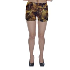 Leaves Autumn Texture Brown Skinny Shorts by Simbadda