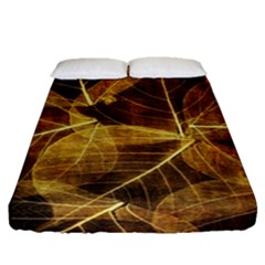 Leaves Autumn Texture Brown Fitted Sheet (queen Size) by Simbadda