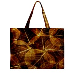 Leaves Autumn Texture Brown Zipper Mini Tote Bag by Simbadda