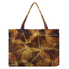 Leaves Autumn Texture Brown Medium Zipper Tote Bag by Simbadda