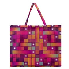 Abstract Background Colorful Zipper Large Tote Bag by Onesevenart