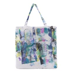 Background Color Circle Pattern Grocery Tote Bag by Onesevenart