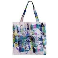 Background Color Circle Pattern Zipper Grocery Tote Bag by Onesevenart