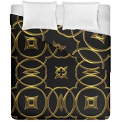 Black And Gold Pattern Elegant Geometric Design Duvet Cover Double Side (california King Size) by yoursparklingshop