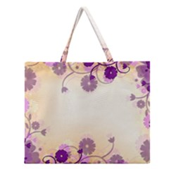 Background Floral Background Zipper Large Tote Bag by Onesevenart