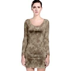 Camouflage Tarn Texture Pattern Long Sleeve Bodycon Dress