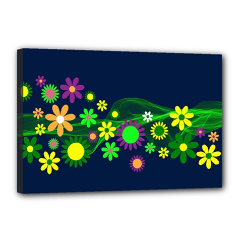 Flower Power Flowers Ornament Canvas 18  X 12  by Onesevenart