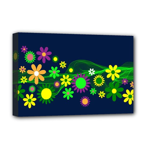 Flower Power Flowers Ornament Deluxe Canvas 18  X 12   by Onesevenart