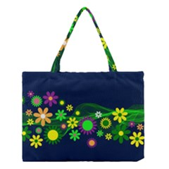Flower Power Flowers Ornament Medium Tote Bag by Onesevenart