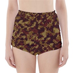 Camouflage Tarn Forest Texture High Waisted Bikini Bottoms by Onesevenart