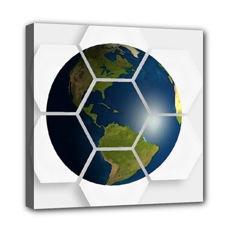 Hexagon Diamond Earth Globe Mini Canvas 8  X 8  by Onesevenart