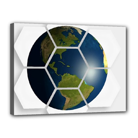 Hexagon Diamond Earth Globe Canvas 16  X 12  by Onesevenart