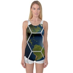 Hexagon Diamond Earth Globe One Piece Boyleg Swimsuit by Onesevenart